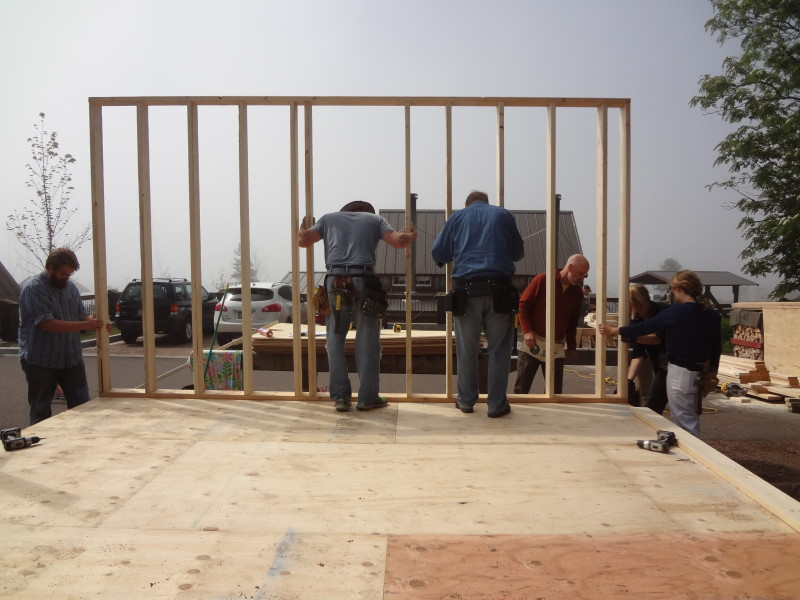 Raising the first wall frame
