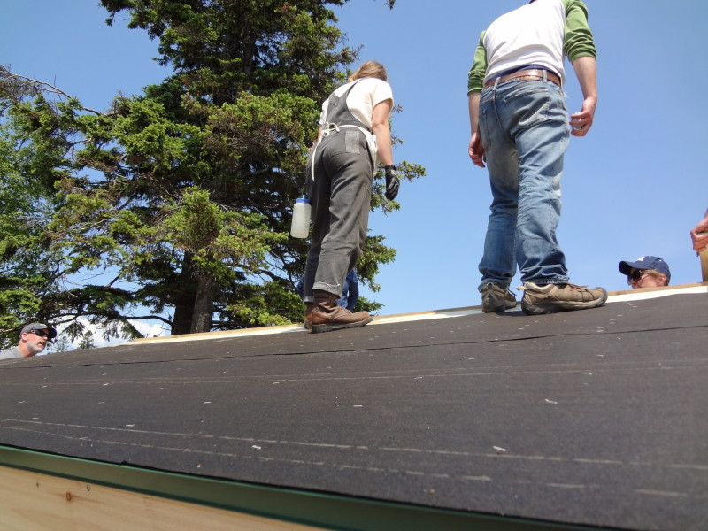 Tar paper covers drip edge on eave sides