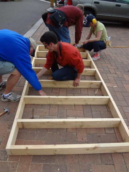Building the loft frame outside
