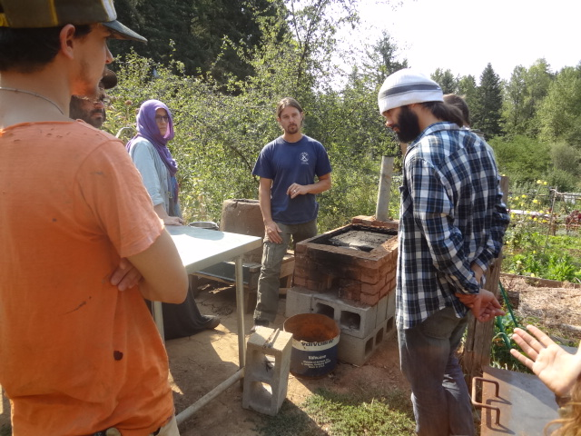 Rocket stove with griddle top: the Justa stove (griddle top removed)