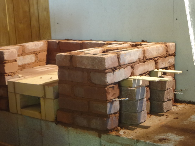 Side view of shimmed bricks