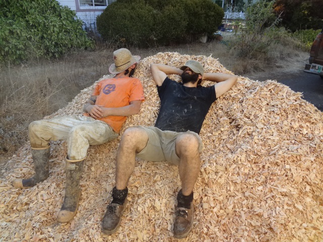 Wood chip pile for chip slip walls