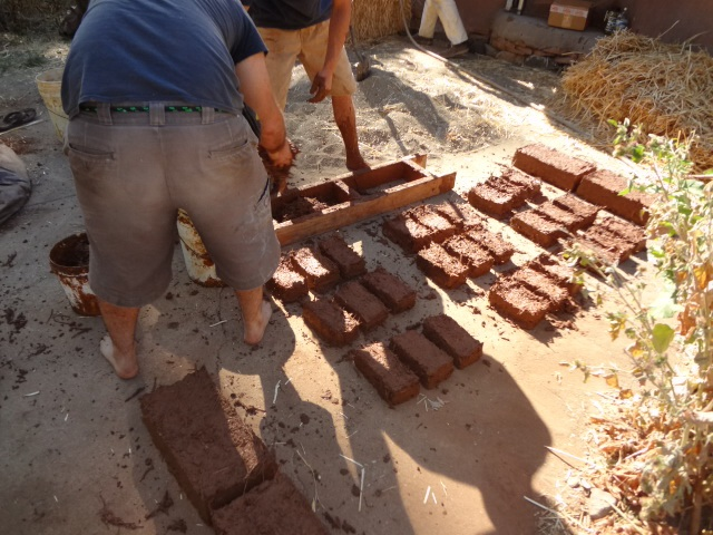 Making adobe bricks