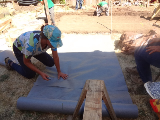Cutting landscape cloth