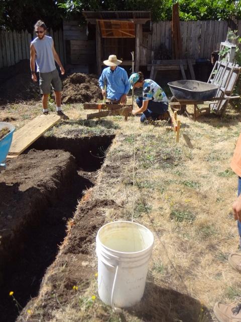 The water bucket leveling method