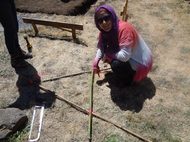Making the 4ft A-frame to check the slope in the trench